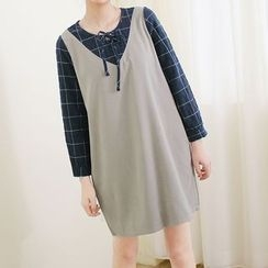 Mushi - Window Pane Panel 3/4 Sleeve Dress