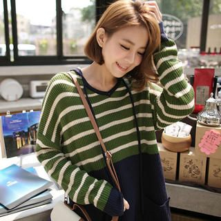 Tokyo Fashion - Hooded Color-Block Stripe Long Sweater