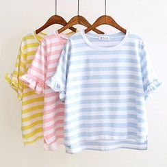 Angel Love - Ruffle Trim Stripe Short-Sleeve T-Shirt