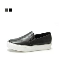 MODELSIS - Zip Accent Faux-Leather Slip-Ons