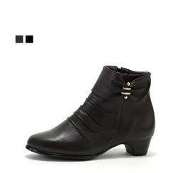 MODELSIS - Genuine Leather Kitten Heel Boots