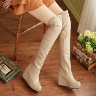 77Queen - Over-The-Knee Wedge Boots