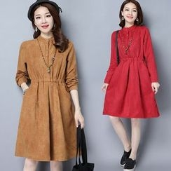 Diosa - Faux Suede Long-Sleeve Dress