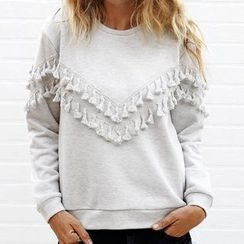 Rebecca - Tasseled Chevron Sweatshirt