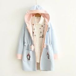 白金天使 - 企鵝刺繡撞色連帽大衣