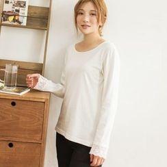 白金天使 - 蕾絲袖口長袖T恤
