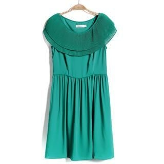 9mg - Pleated Cape-Collar Sleeveless Dress