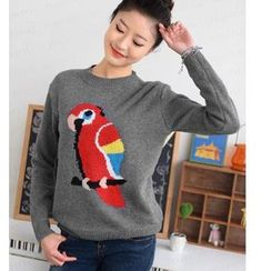 59 Seconds - Parrot Intarsia Knit Sweater