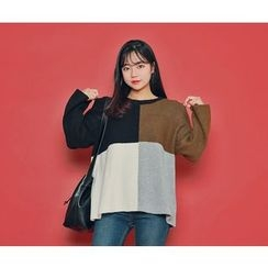 HOTPING - Round-Neck Color-Block Knit Top
