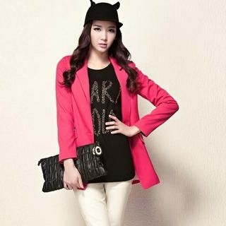 Moonbasa - Single-Button Long Blazer