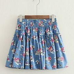 ninna nanna - Floral Print A-Line Denim Skirt
