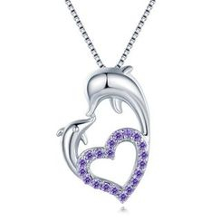 MBLife.com - Forever Dolphin Love - 925 Sterling Silver Purple CZ Necklace