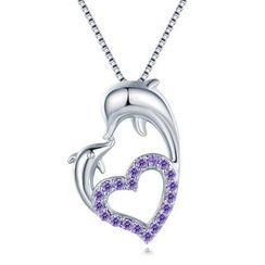 MBLife.com - 命中注定在一起海豚颈链- 925 纯银紫色锆石