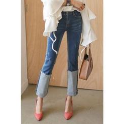 PPGIRL - Distressed Cuff-Hem Jeans