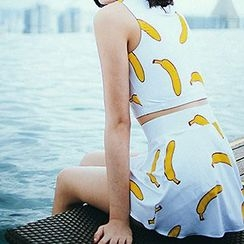 Moonrise Swimwear - Set: Banana Print Tankini + Swimskirt