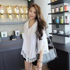 REDOPIN - Fluted-Sleeve Lace-Trim Blouse