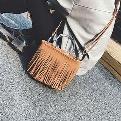 Clair Fashion - 韓版磨砂流蘇圓環手提側背包