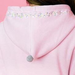 chuu - Flower-Embroidery Brushed-Fleece Lined Hoodie