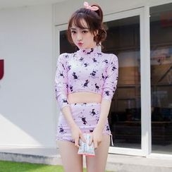 LANYI - Set: Cat Print Rashguard + High Waist Bikini Bottom