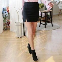 JVLLY - Slit-Front Pencil Mini Skirt