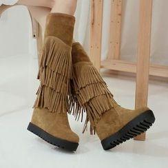 傾城 - 流蘇內增高高筒長靴