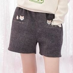 Moriville - Embroidered Woolen Shorts