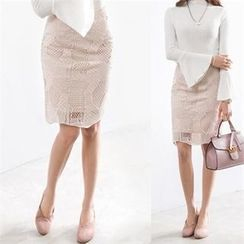 PEPER - Lace-Overlay Pencil Skirt