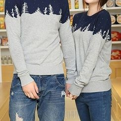 Azure - Couple Matching Tree Colour Block Knit Top