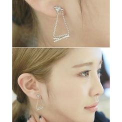 Miss21 Korea - Rhinestone-Bar Dangle Earrings