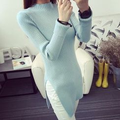 anzoveve - Mock-neck Ribbed Knit Slitted Dress