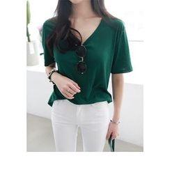 Miamasvin - V-Neck Short-Sleeve T-Shirt