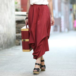 Zen Girl - Asymmetric Linen Midi Skirt