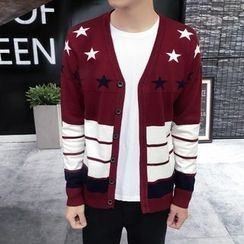 JEUX - Star Colour Block Cardigan