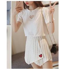 HazyDazy - Set: Short Sleeve Heart T-Shirt + Striped Wrapped A-Line Skirt