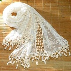 Blue Hat - Embroidered Cutout Lace Scarf