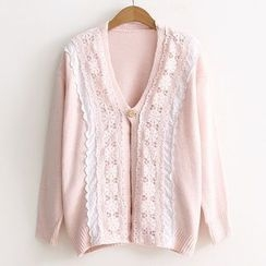ninna nanna - Lace Panel V-neck Cardigan