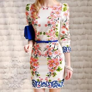 Dabuwawa - 3/4-Sleeve Floral Dress
