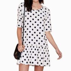 Obel - Polka Dot Elbow-Sleeve Dress