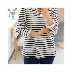 LEELIN - Frill-Cuff Stripe T-Shirt