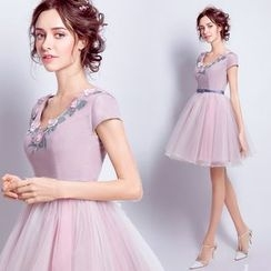 Angel Bridal - Short-Sleeve Applique Mini Prom Dress
