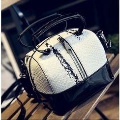 Youshine - Snakeskin Pattern Boston Bag with Shoulder Strap