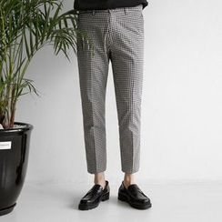 Seoul Homme - Straight-Cut Gingham Pants