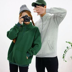 Seoul Homme - Couple Zip-Front Brushed-Fleece Pullover