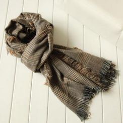 JVL - Fringed Plaid Scarf