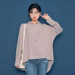 HOTPING - Half-Placket Loose-Fit Top