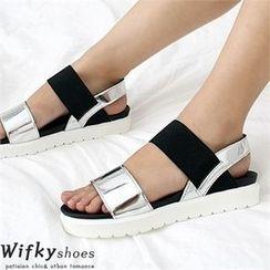 Wifky - 厚底雙色涼鞋
