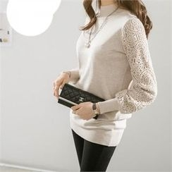 PEPER - MocK-Neck Crochet-Sleeve Knit Top