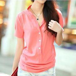 Raisin - 純色短袖襯衫