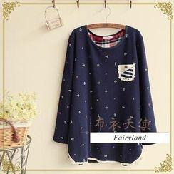 Fairyland - Anchor Print Long-Sleeve Top