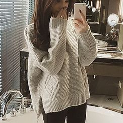 Moon City - Plain Cable Knit Sweater